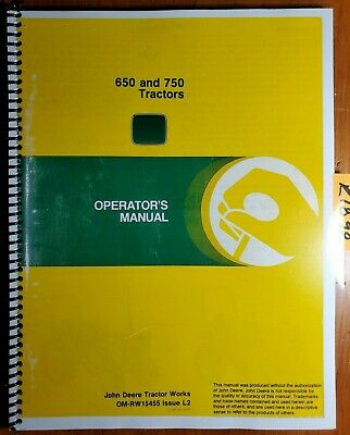 John Deere 650 750 Tractor Owners Operators Manual Om-rw15455 L0 1282