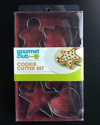 NEW Cookie Cutter Set 6 Shape Star Heart Flower Tree Candy Cane Gingerbread Man ()