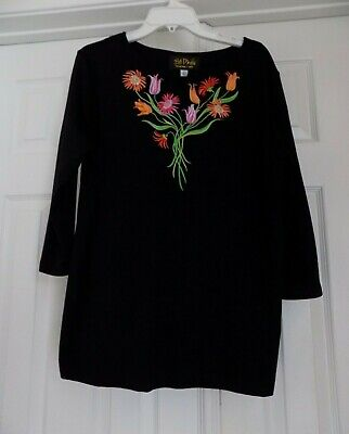 BOB MACKIE Art Orange Embroidered Flowers Pullover Black Blouse Size L Large