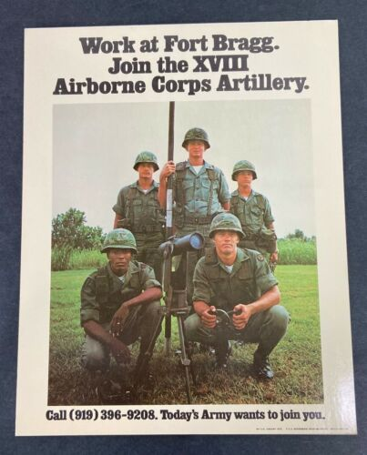 Original 1973 US Army Fort Bragg Airborne Corps Artillery Recruiting Display