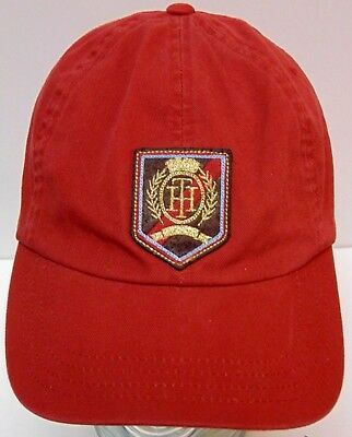 TOMMY HILFIGER Crest TH Logo FASHION CLOTHING ADVERTISING Maroon Red HAT CAP