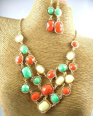 Beauty Color Crystal Beads Necklace Earring Set Costume Metal Fashion (Bead Necklace Earring Set)