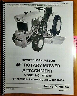 Haban Mtm48 48 Mower For Mitsubishi Mt372 372 Tractor Operator Parts Manual