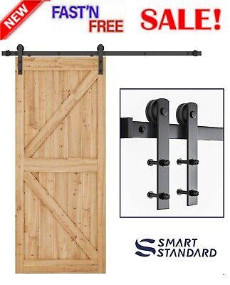 JUBEST Satin Nickel Sliding Barn Door Hardware Kit Smoothly and Quietly Hanger Roller Flat Track Kit 2x3ft Rails