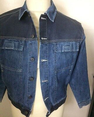 VINTAGE 80s ESPIRIT JUNIOR DENIM JACKET WITH SHOULDER PANEL CHEST 36""