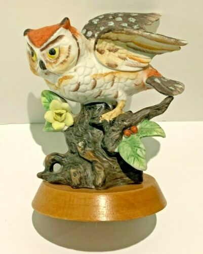 Vintage Colorful ARDCO Great Horned Owl on Tree Branch Mounted on Wood Base