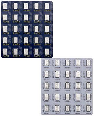 PAMP Suisse 1 gram Platinum Snap off Fortuna Bars - Sheet of 25 Bars SKU39906