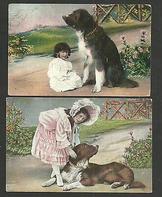 Lot of 2 Children Little Girls With Big Puppy Dogs Vintage Postcards