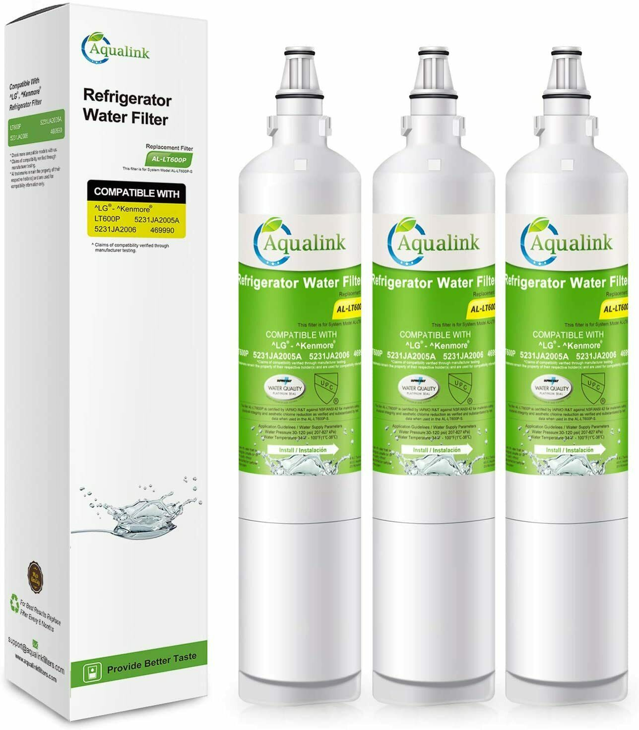 Refresh Replacement Water Filter 3 Pack Fits LG LFX25950TT Refrigerators