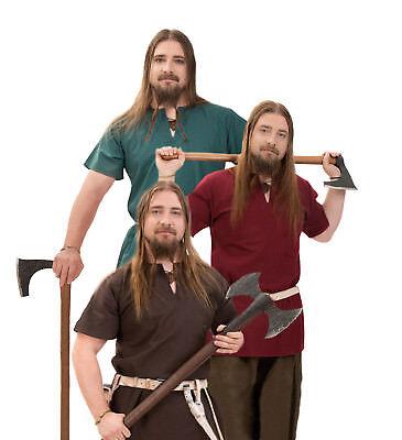 Tunika rot braun grün Mittelalterkostüm Herren-Outfit mit V-Ausschnitt