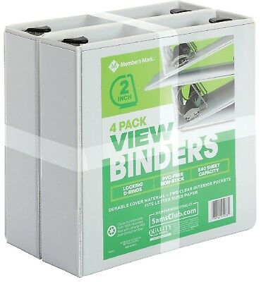 Members Mark 4 Pack 3 Ring D Ring Binders 2 525 Sheet Presentation View White
