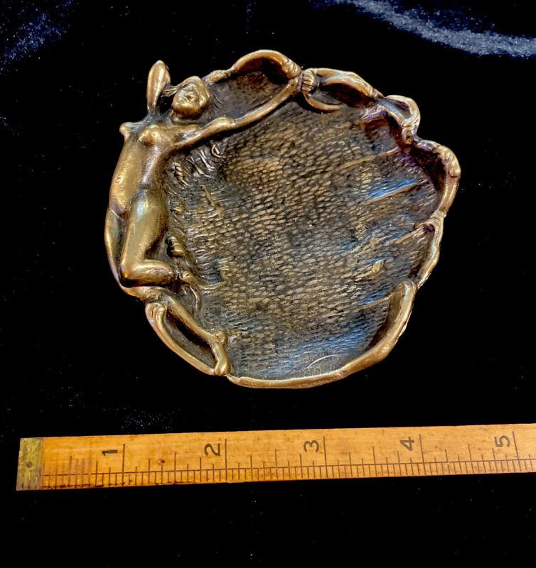 """Bronze Art Nouveau Card Holder/ Trinket Tray Reclining Nude  Siren 4 1/2"""" Round"""