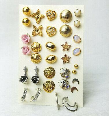 Heart Hoop Pierced Earrings - 17 Pr Pierced Earrings Flower Butterfly Fish Sanddollar Heart Faux Opal Hoop