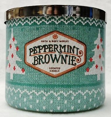 - 1 Bath & Body Works PEPPERMINT BROWNIE Large 3-Wick Scented Candle 14.5 oz