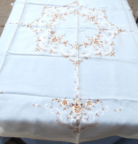 """Antique Chinese Silk Hand Embroidered Floral Tablecloth 67"""" Round New"""