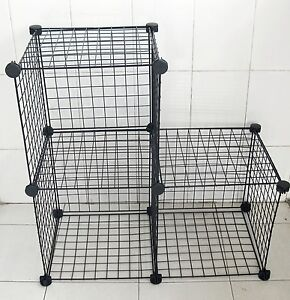1Set X 3 Black Stacking Wire Cube Storage Rack