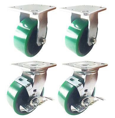 4 Heavy Duty Caster Set 4 5 6 Polyurethane On Cast Iron Wheels No Mark Green