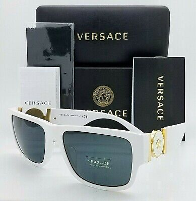 New Versace sunglasses VE4369A 401/87 58mm White Gold Grey Medusa Heads (Real Versace Sunglasses)