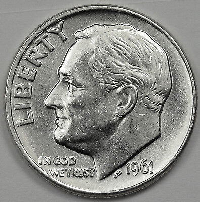 1961-d Roosevelt Dime.  Fully Separated Horizontal Torch Line's. BU Inventory G
