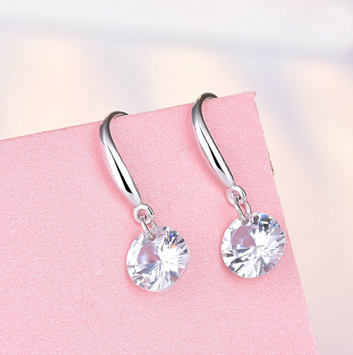 Jewellery - Crystal Stone Drop Hook Stud Earrings 925 Sterling Silver Womens Girls Jewellery