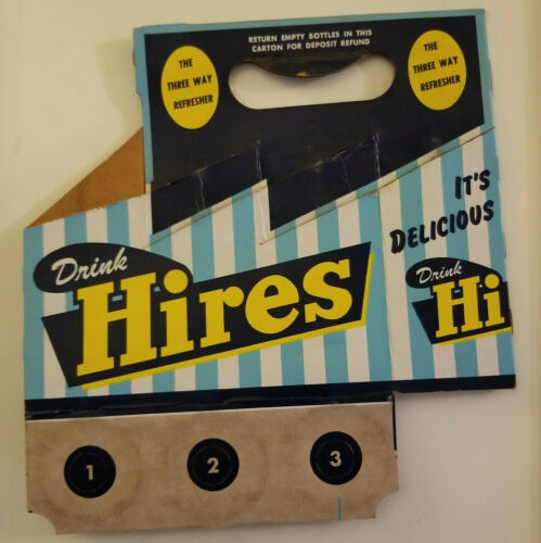 1950s Hires Root Beer cardboard Six Pack Soda Carrier Original Vintage A