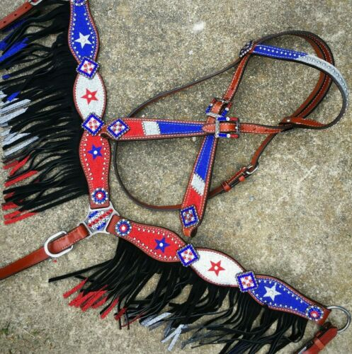 Western Saddle Horse Bling! Patriotic Tack Set Glitter Bridle + Breast Collar