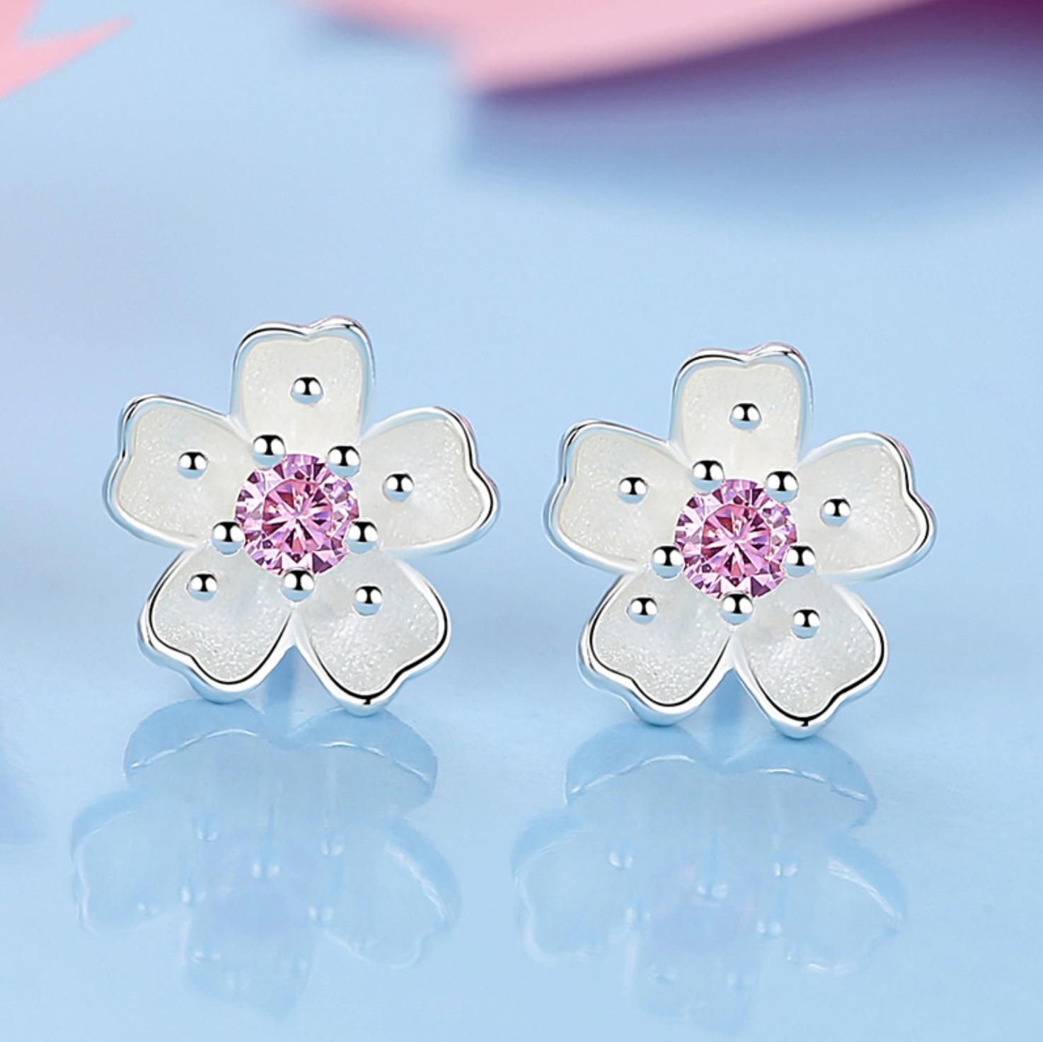 Jewellery - 925 Sterling Silver Daisy Pink Stone Stud Earrings Womens Girls Jewellery New UK