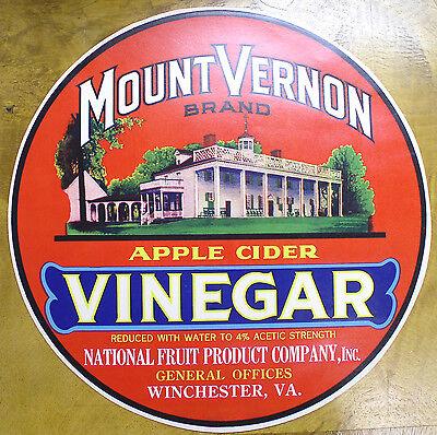 Mount Vernon Apple Cider Vinegar barrel label -C.1920
