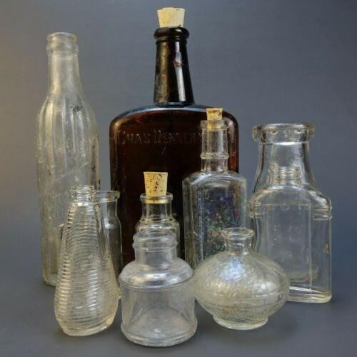 Lot of 9 Vintage & Antique Glass Bottles.