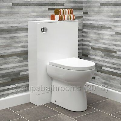 Slimline Back to Wall BTW Toilet Unit 490mm Gloss White WC Pan Cistern and Seat