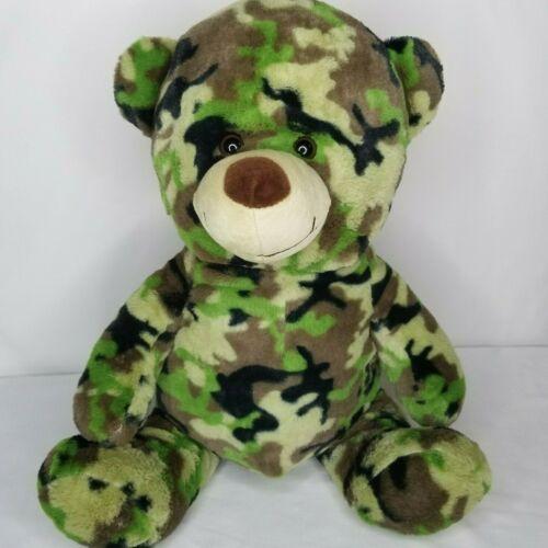 "Camouflage Print Teddy Bear Plush Hunter Green Camo 16"" Big Stuffed Animal Soft"