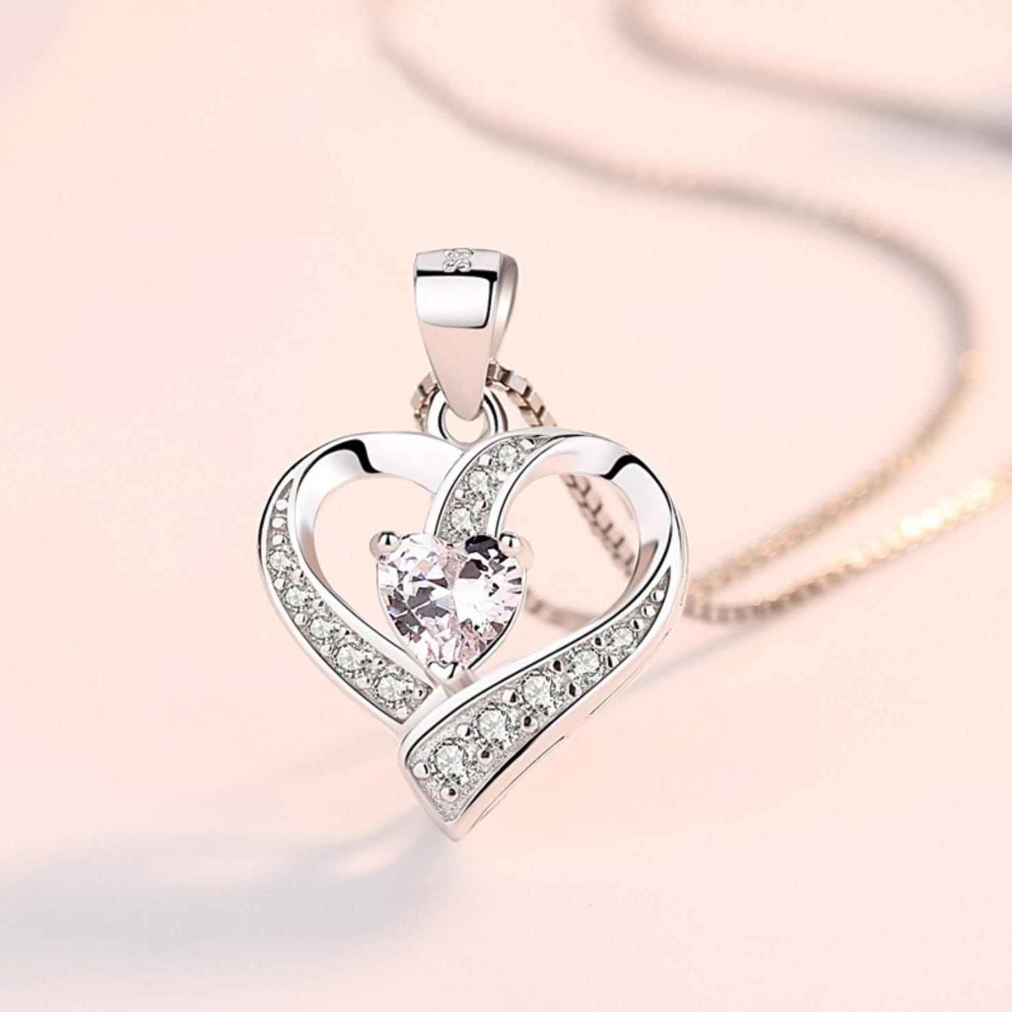 Jewellery - Heart Swirl Stone 925 Sterling Silver Pendant Chain Necklace Womens Jewellery