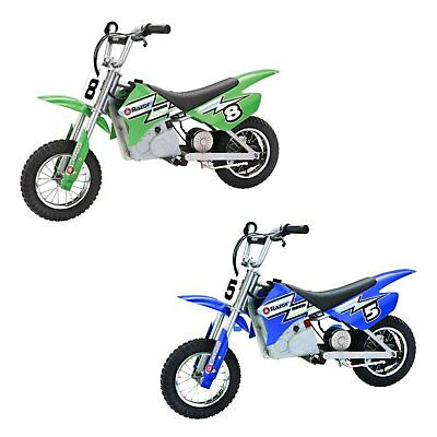 Razor Dirt Rocket Kids Electric Motocross Motorcycle Bikes, 1 Green & 1 Blue