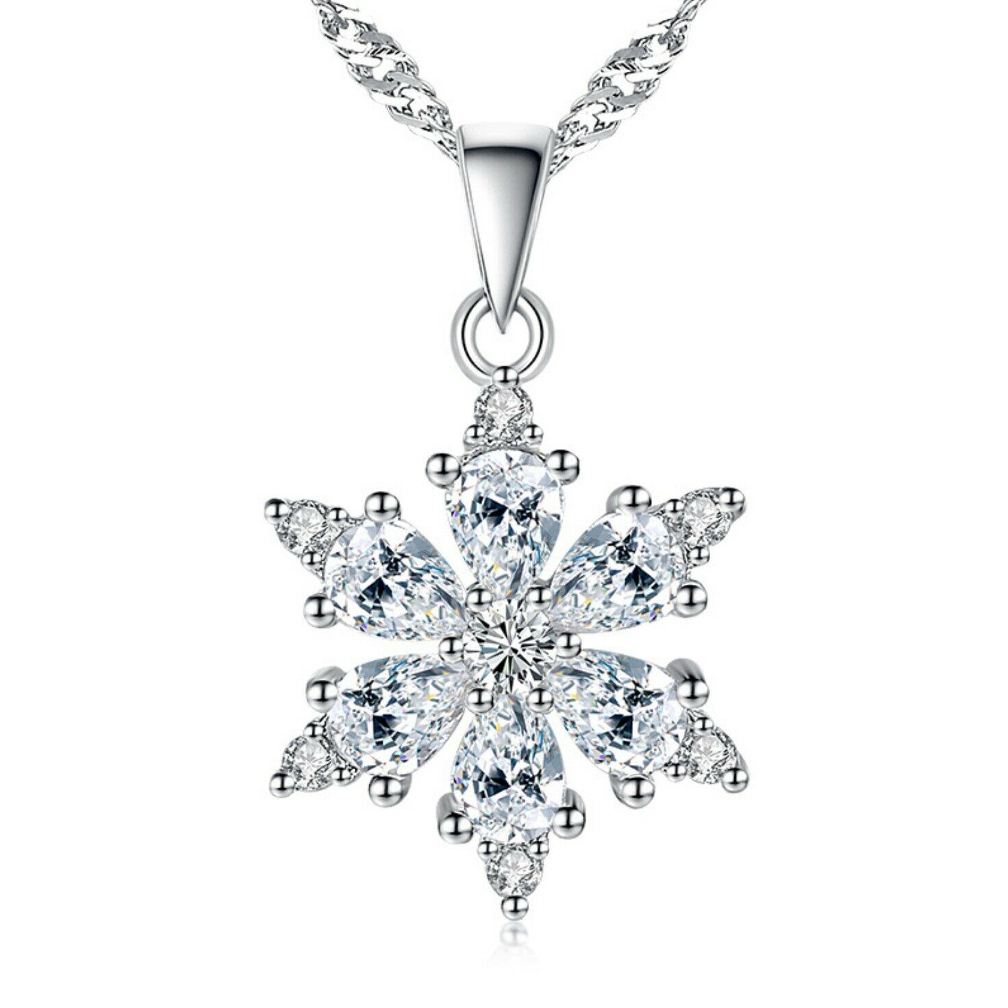 Jewellery - 925 Sterling Silver Snowflake Pendant Necklace Womens Jewellery Christmas Gift