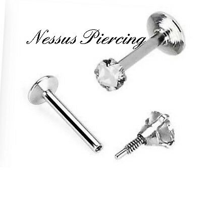 16G CZ Gem Round Tragus Lip Ring Monroe Ear Cartilage Stud Earring Piercing Punk