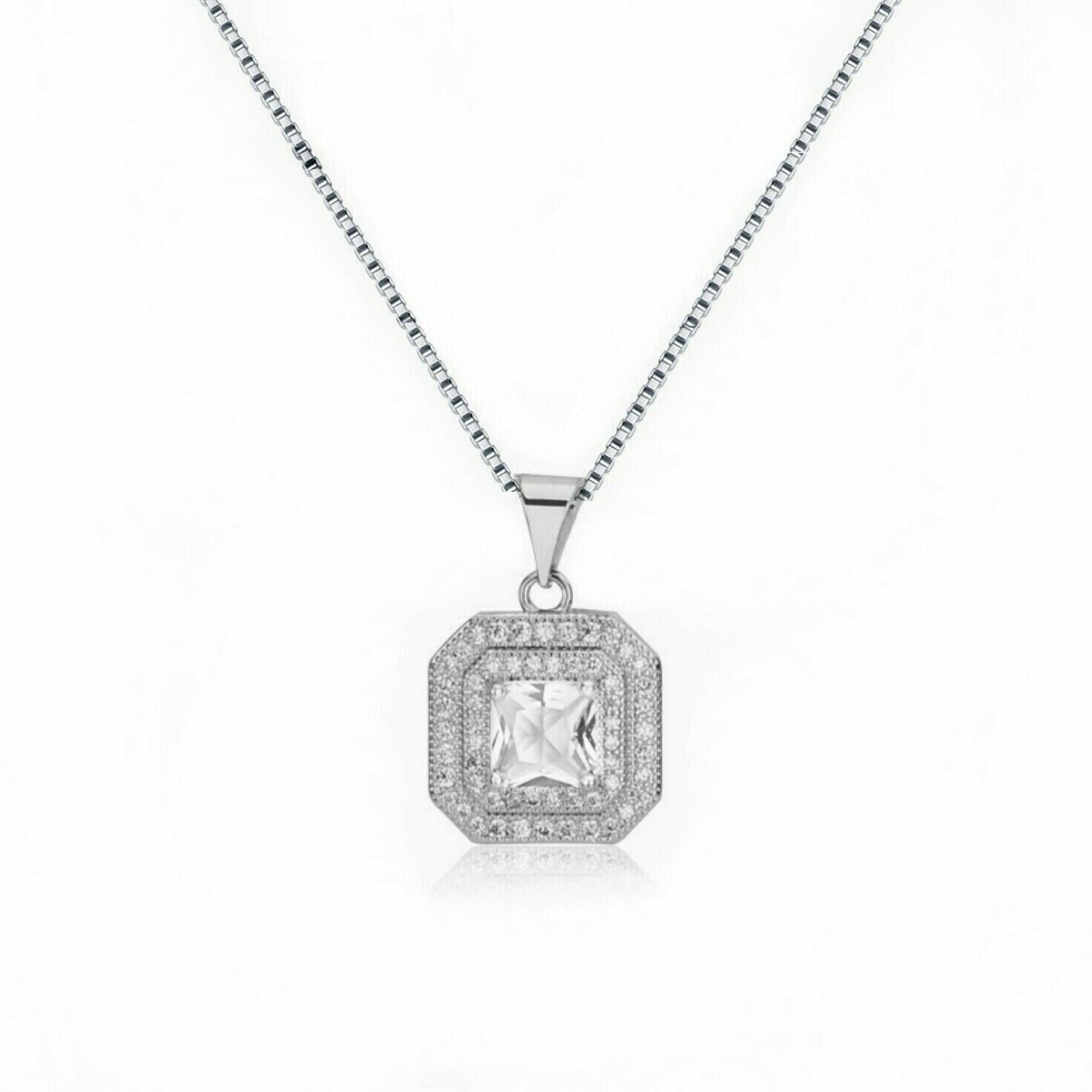 Jewellery - Square Stone Pendant 925 Sterling Silver Chain Necklace Womens Jewellery Gift UK