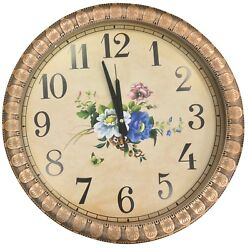 EXTRA Large 45cm Round Wall Clock With Quartz Movement Copper Frame Floral