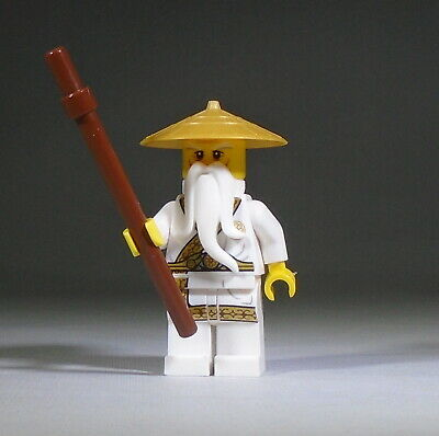 LEGO Ninjago Minifig: Sensei Wu in gold trimmed outfit with staff