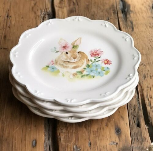 Grace Teaware Easter Bunny Floral Scalloped SALAD Plates ~ Set of 4 ~ New