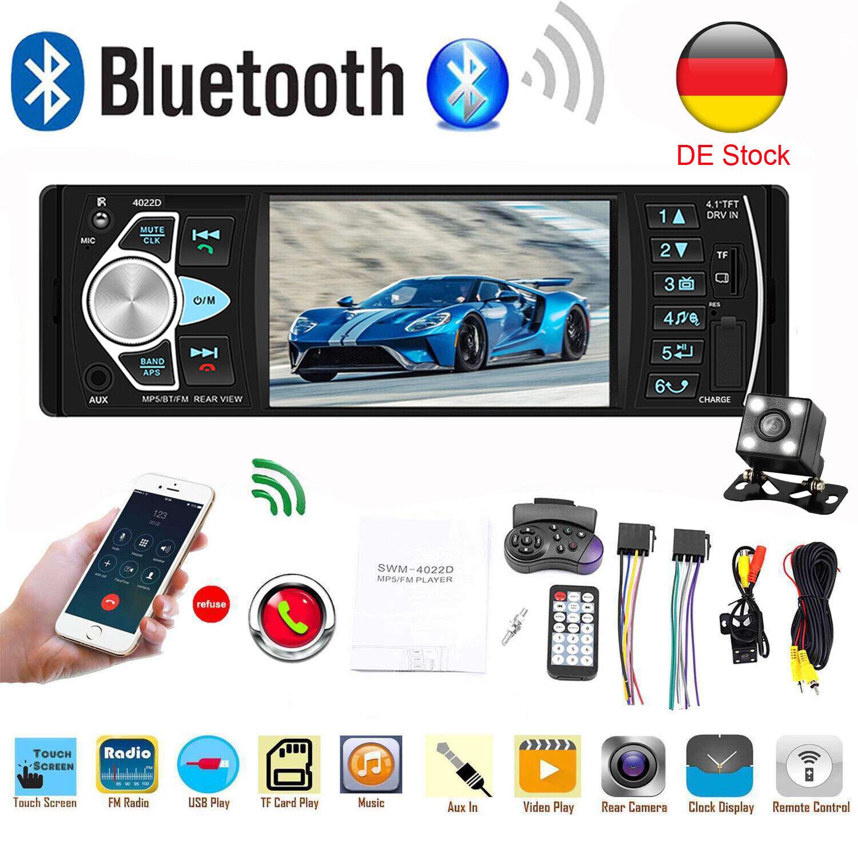 AUTORADIO MIT BLUETOOTH FREISPRECHEINRICHTUNG USB SD AUX MP3 1DIN Rückfahrkamera