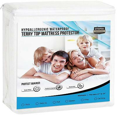 Waterproof Fitted Mattress Protector - Hypoallergenic Waterproof Mattress Protector Fitted Premium by Utopia Bedding