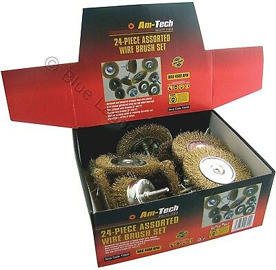 24 Assorted Steel Wire Brush Box Drill Wheel Cup Cleaning Rust Twisted Rotary