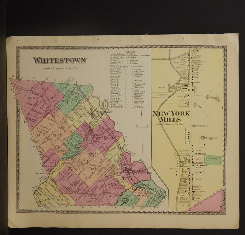 New York Oneida County Map 1874 Town of Whitestown Z2#67