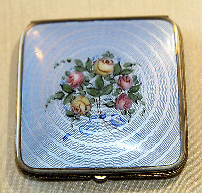 Vintage BLUE GUILLOCHE VANITY CASE COMPACT, Powder & Rouge- Bliss Brothers Co.