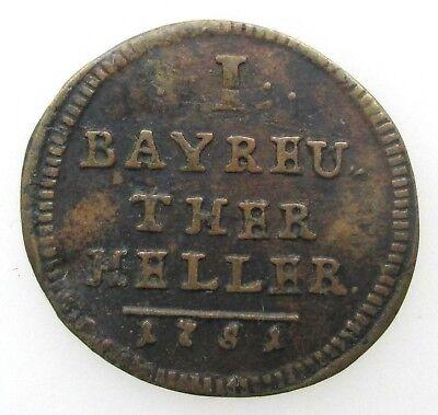 German States Bayreuth 1 heller 1751