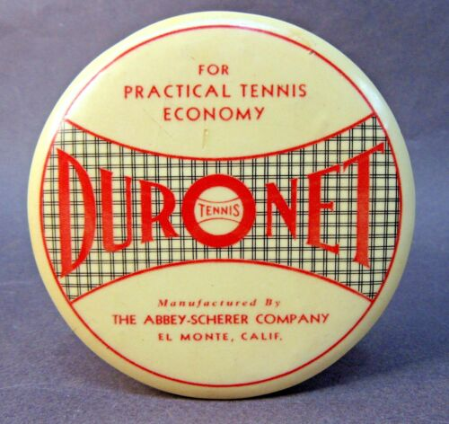 1920s DURONET TENNIS El Monte CALIFORNIA advertising paperweight pocket mirror *