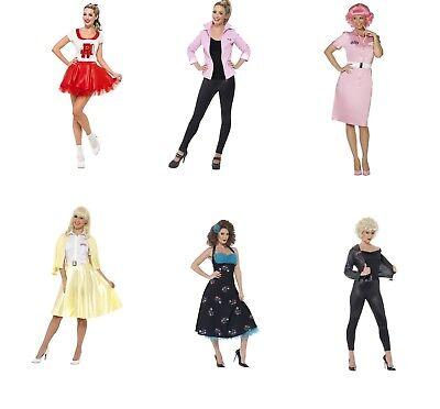 Women's Girl's 1950's 60s Grease Fancy Dress Costumes Hen Sandy DiGregorio Film (Girls Sandy Grease Costume)