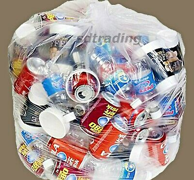 100 Clear Bin Liners Bags Refuse Sacks Heavy Duty Rubbish Waste Bags 160g
