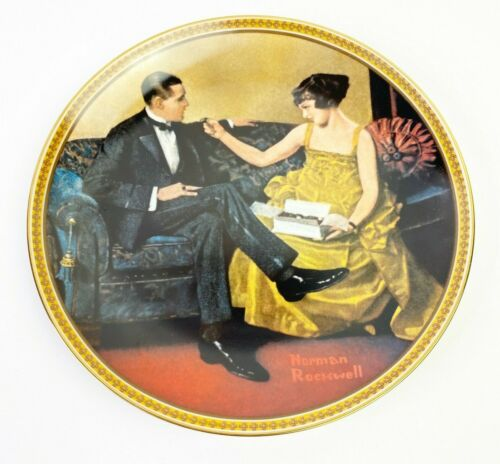 Vintage Norman Rockwell Rediscovered Women Knowles Flirting In The Parlor Plate