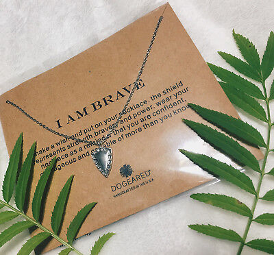 Silver Sparkling I Am Brave Dogeared Necklace perfect for any occasion Shield (Sparkling Shield)